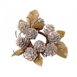 Ljusmanschett med kottar och löv, beige