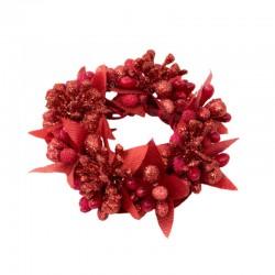Ljusmanschett med röda bär och glitter