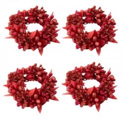 Ljusmanschetter 4-pack med röda bär och glitter