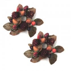 Ljusmanschetter 2-pack höst med ekollon, kottar och blad