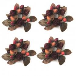 Ljusmanschetter 4-pack höst med ekollon, kottar och blad