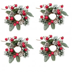 Ljusmanschetter 4-pack med röda bär på kvistar, kottar och snöglitter