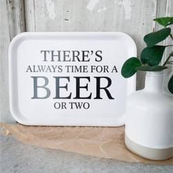 Bricka Beer Svart med vit text